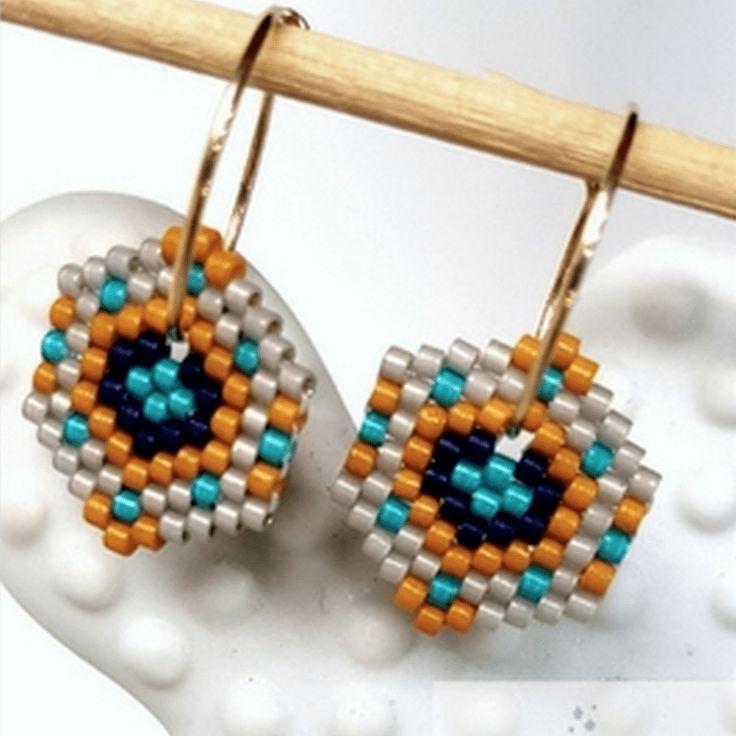 Créoles hexagone ~ Des étoiles à la pistache | Mooka, le quotidien du DIY