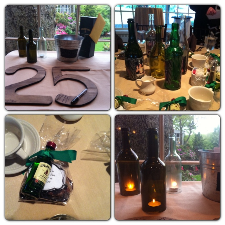 25th Surprise Party. Wine bottle centerpieces w/ pics of birthday boy growing up, card beer bucket, Jameson & choc pretzel favors