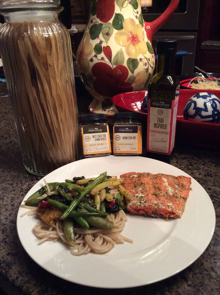 YIAH West Coast Lemon Myrtle Fish Rub and olive oil on the salmon and some Asian Stir Fry spice blend and Thai Inspired olive oil on the pasta and veggies. Proud to say the family said is was the BEST salmon they've ever had.