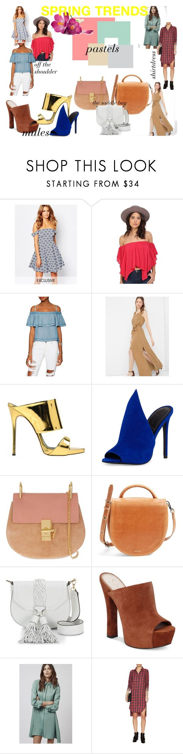 """""""spring trends"""" by reesemarcelle on Polyvore featuring Millie Mackintosh, Free People, White House Black Market, Giuseppe Zanotti, Kendall + Kylie, Chloé, Matt & Nat, Rebecca Minkoff, Jessica Simpson and Topshop"""