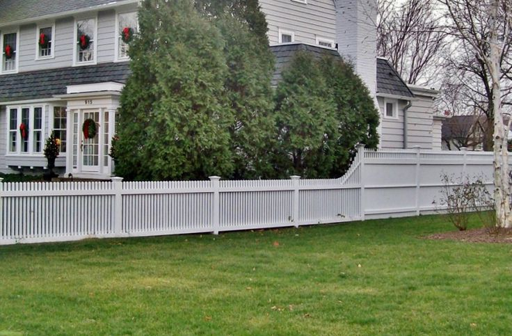 6 Foot Tongue And Groove Fence Wit Transition To 4 Foot Picket Fence Stained White Installed By
