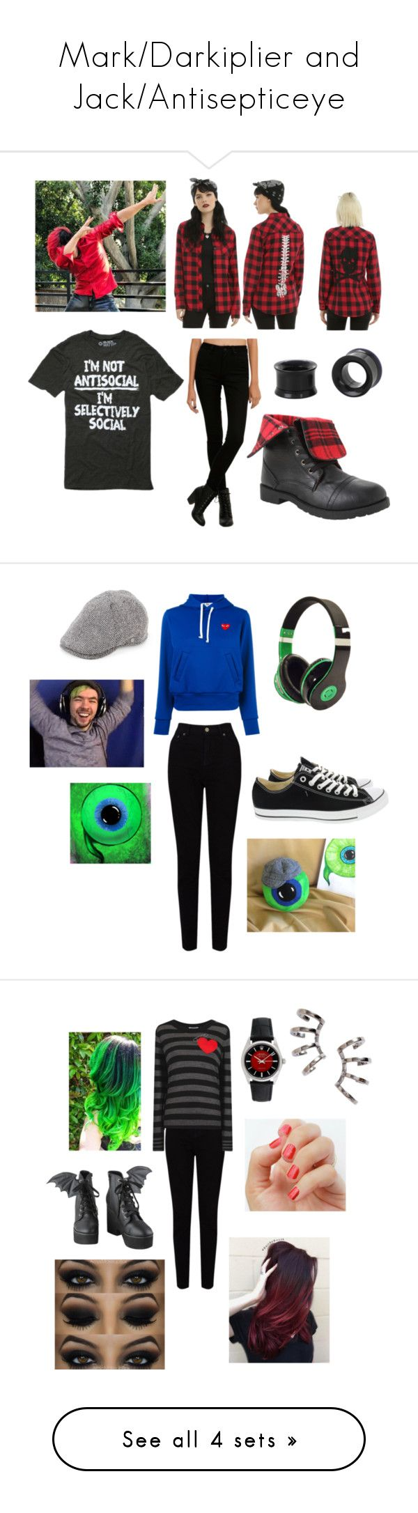 """""""Mark/Darkiplier and Jack/Antisepticeye"""" by orioli ❤ liked on Polyvore featuring EAST, Play Comme des Garçons, Converse, Block Headwear, Sonia by Sonia Rykiel, Iron Fist, SoGloss, Nadri, Rolex and Urban Outfitters"""