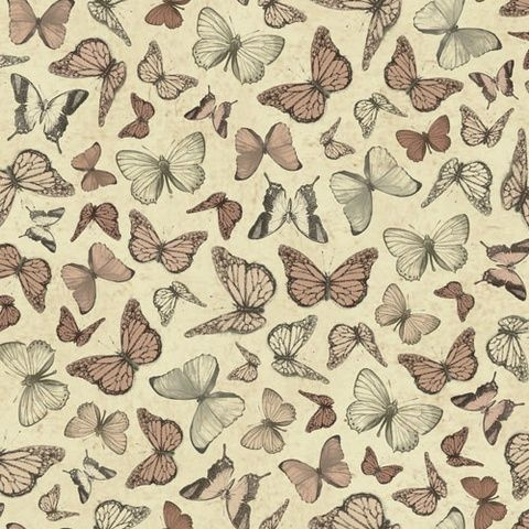 Santoro Mirabelle Terracotta Butterflies Cotton fabric by Quilting Treasures