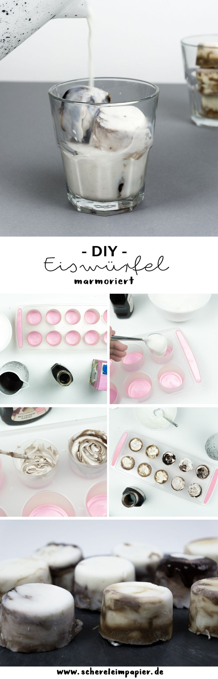 """Lecker und Schön: DIY marmorierte Eiswürfel selber machen - In meinem Rezept zeige ich euch, wie ihr diese Idee selber macht: Mit den Würfeln verwandelt ihr Milch in einen leckeren Eis Kaffee oder Kakao! Perfekt für den Sommer! Unter """"Mehr"""" erfährst du, wie es funktioniert! [schereleimpapier]"""