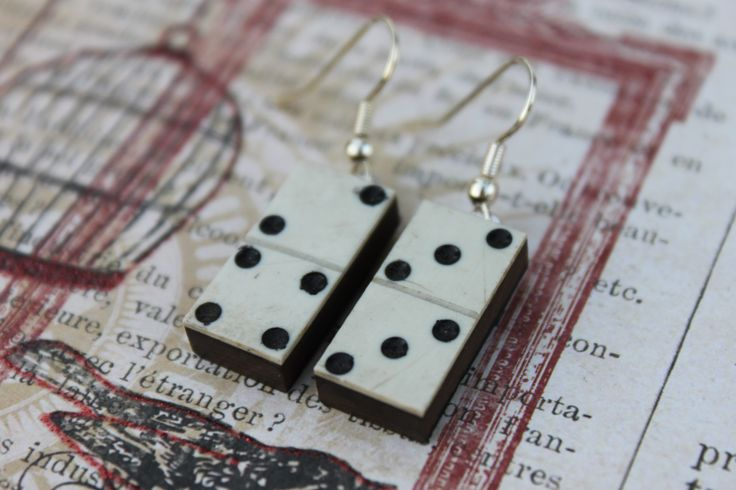 Vintage bone and ebony domino earrings
