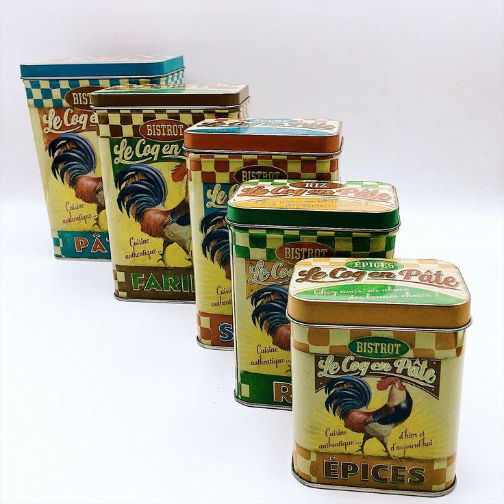 Set cinq Boites métal vintage rétro cuisine boite rangement sucre farine pâtes riz épice jaune couleur Bistrot Français dessin illustré coq de la boutique LesInsolitesdeNini sur Etsy