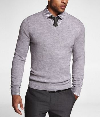 MERINO WOOL V-NECK SWEATER at Express