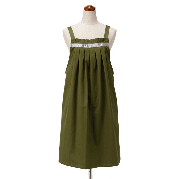 front tucked apron - green