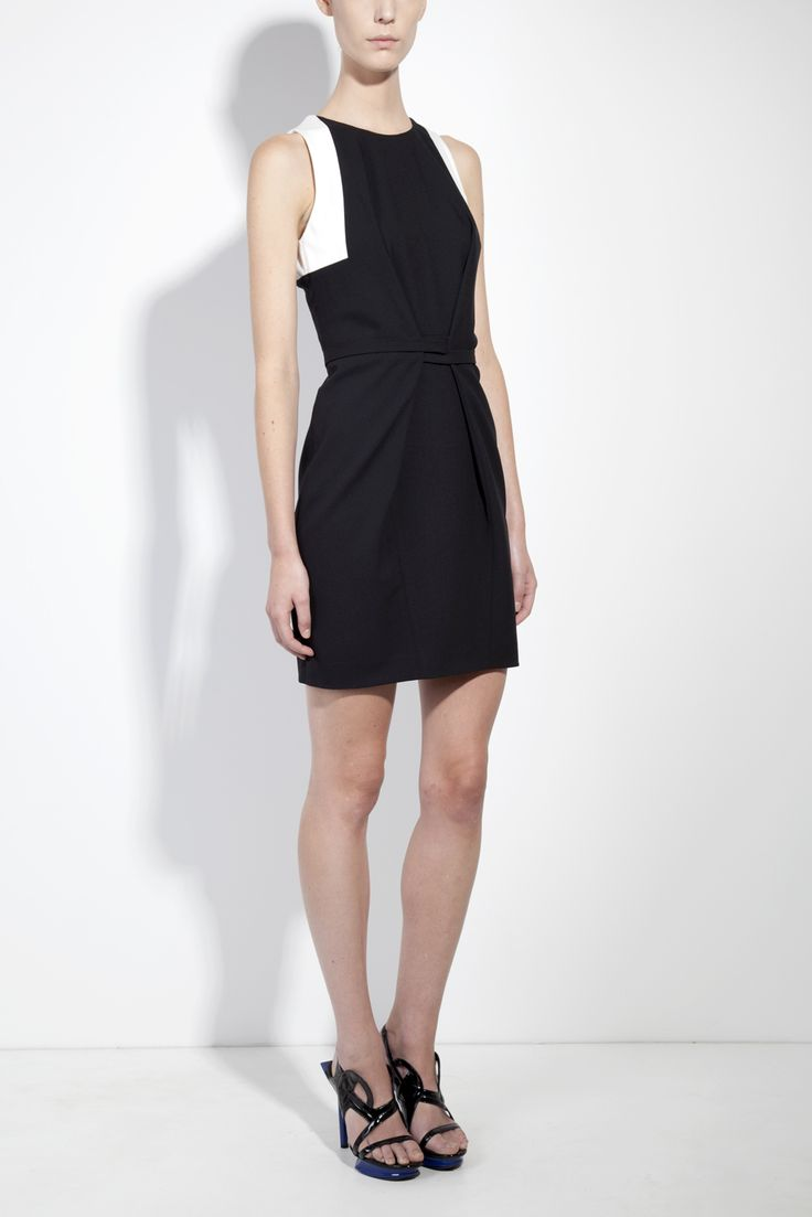 Sleeveless organic wool wrap dress by Honest By Bruno Pieters