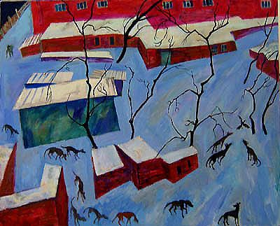 Maxim Kantor - 12 dogs and 1 crow (2007), Oil on canvas 160x200cm