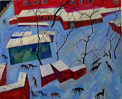 Maxim Kantor - 12 dogs and 1 crow (2007), Oil on canvas 160x200cm