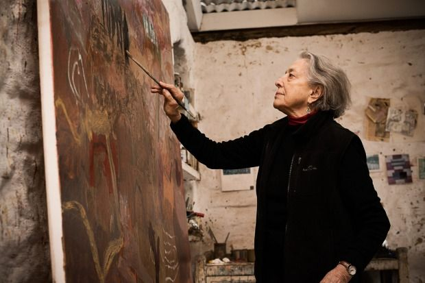 """Cummings at work in her studio. """"There are so many ways to go – the conceptual movement, abstraction, minimalism … and ..."""