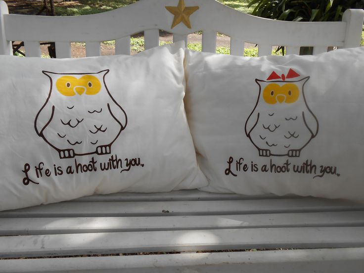 Hooting Owls with Cute Quote, Hand Painted, Couples Gift Ideas,  Standard Pillowcases, Bedroom Decor by TreasuresShop on Etsy