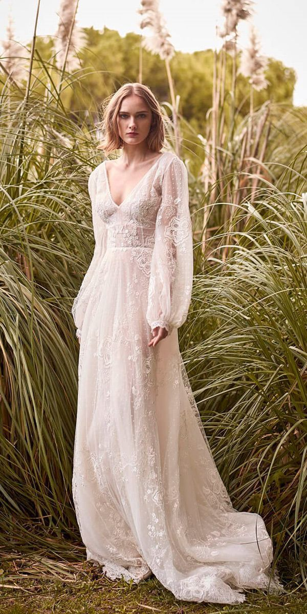 Romantic Flowing Wedding Dress With Balloon Sleeves Wedding Dress Long Sleeve Bohemian Wedding Dress Lovely Wedding Dress