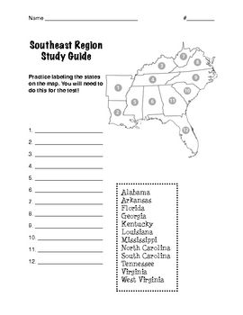 southeast region regions of the united states this is a study guide it includes one page to help your students learn to label the southeast states on a