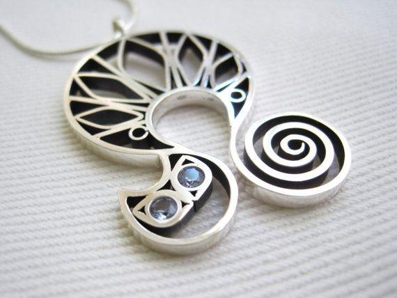 Silver pendant silver necklace  kitty cat pendant by egszeresz