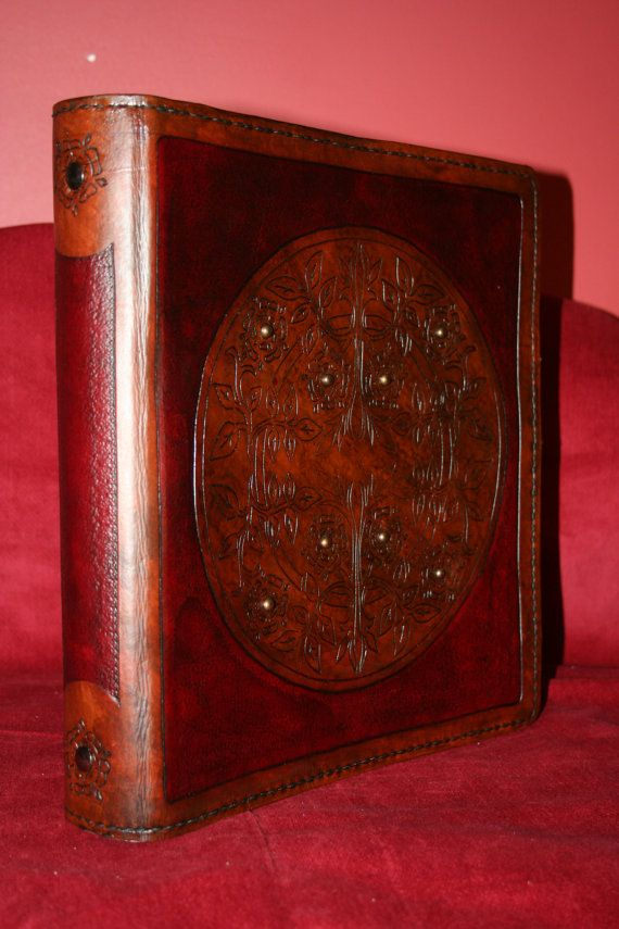 Leather Binder / Hand Tooled Burgundy and Brown by BlackthornWorkshop, $115.00