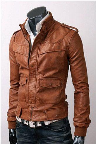 handmade Men Tan brown color Leather Jacket men by ukmerchant, $129.99