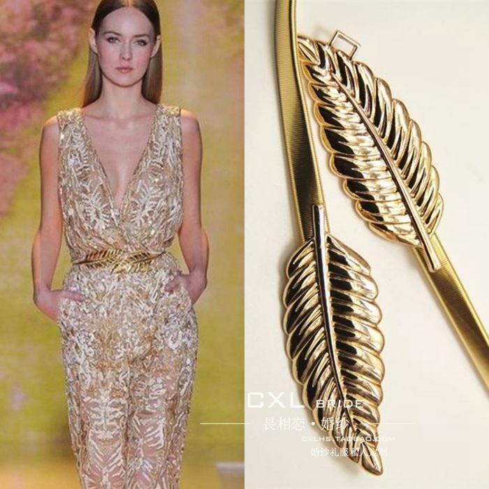 Special Offer~Fashion Leaf Shape Gold & Silver Alloy Wedding Belt/ Dress Cummerbunds D988