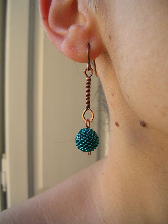 teal beaded bead earrings