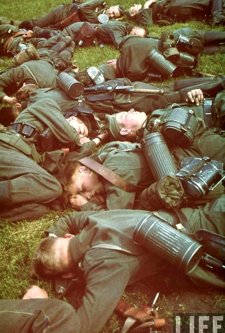 German soldiers taking a nap in Belgium, 1940