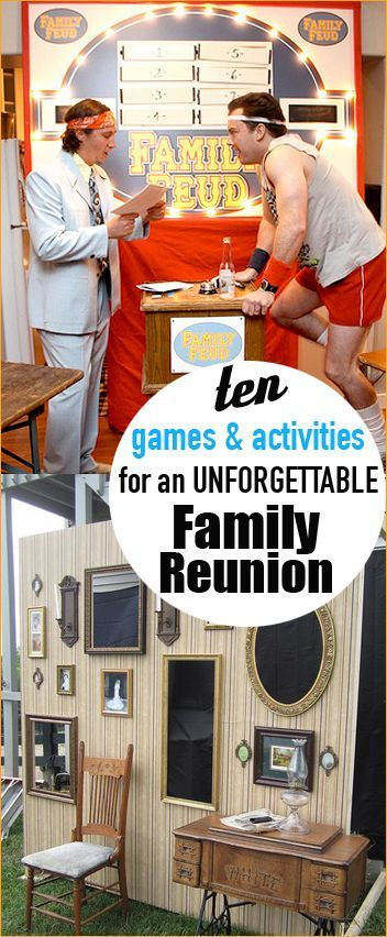 10 Family Reunion Games and Activities.  Games for large parties.  Fun games for family reunions, class reunions and ward parties.  Family outdoor and indoor games for everyone.