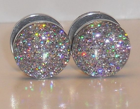 Rainbow Silver with a Hint of Pink Glitter 11mm Fake Plugs on Etsy, $12.00