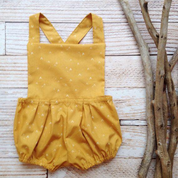 Boho baby girls mustard yellow romper bloomers by www.evelynfields.com #babygirlromper #bohobaby