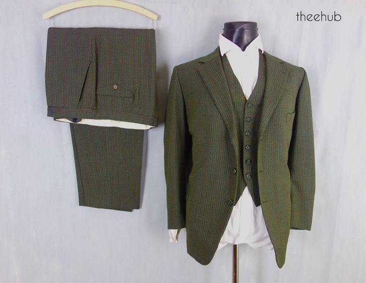 Vtg Bespoke 1950s 3 Piece Suit Reid & Taylor Scotland Green Stripes Fly Button #ReidTaylor #countrycasualtownfashion