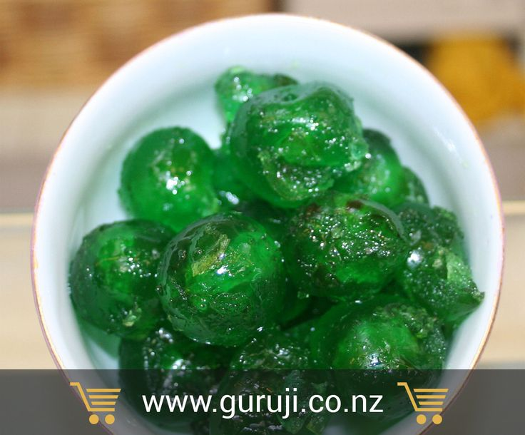 Glaced green cherries are available online at GuruJi supermarket in Christchurch, New Zealand.