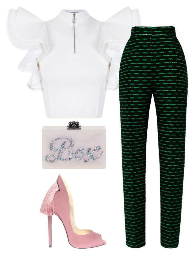 Untitled #4585 by stylistbyair on Polyvore featuring polyvore fashion style Davidelfin Jonathan Saunders Aleksander Siradekian Edie Parker clothing