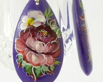 Orecchini  arte popolare russa  Zhostovo stile di handcraftedgifts