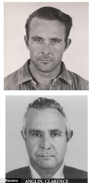 Clarence Anglin showing in his younger and projected older self, a combination handout photo from U.S. Department of Justice.