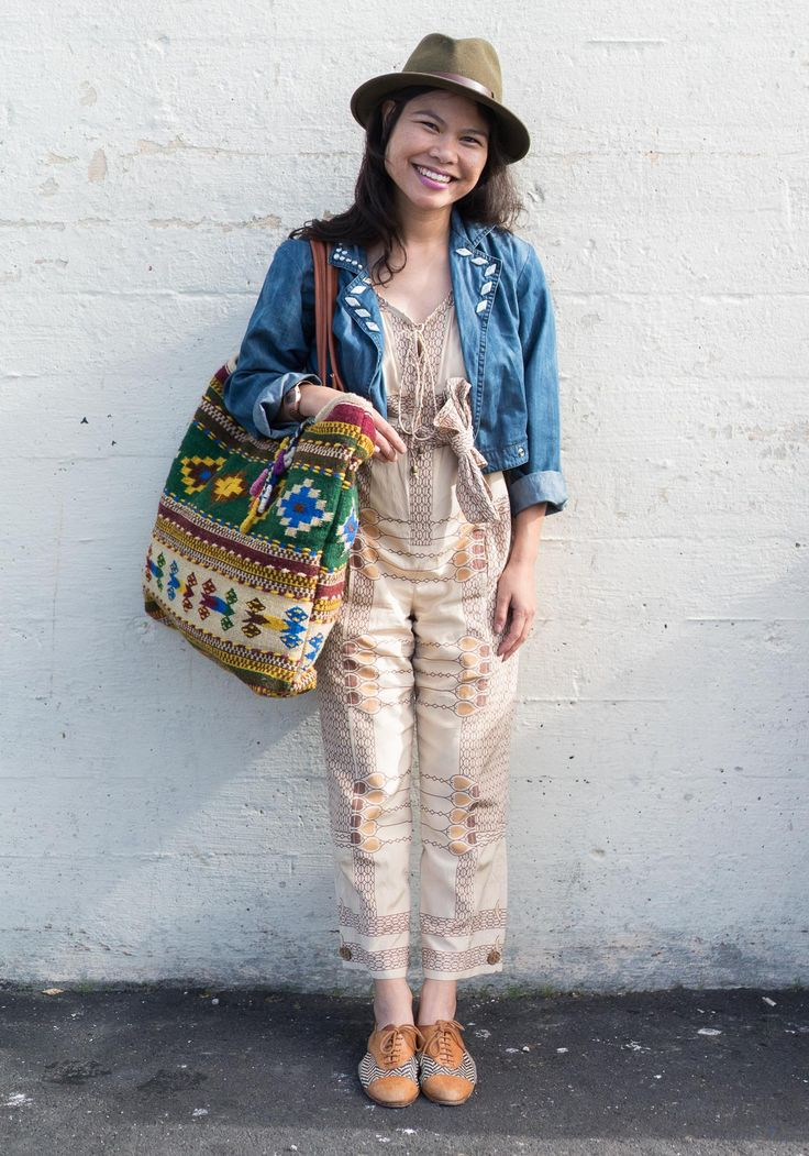 """Roseli,35""""I'm wearing a thrifted jumpsuit, raffia and leather oxfords, an oversized tote from my textile line ILANO, and my lucky hat. I wear it when I want to make good things happen. My style icons are Solange, Tilda Swinton, Frida Kahlo, and """"The Girl"""" in Antonioni's 1975 film The Passenger. I'm inspired by pattern play, global textiles, and ease in comfort. I love pairing jumpsuits, overalls, or suspenders with feminine touches. Putting together an outfit is like creating a…"""