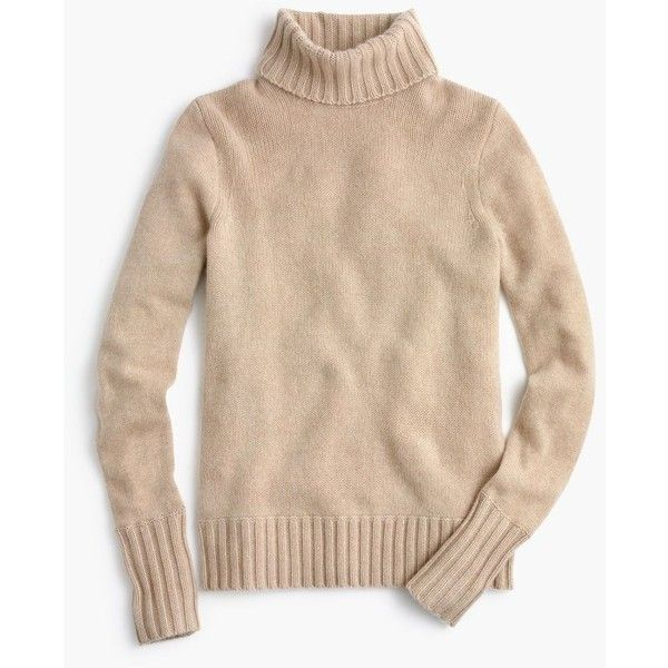 J.Crew Collection Cashmere Chunky Turtleneck Sweater ($395) ❤ liked on Polyvore featuring tops, sweaters, turtleneck tops, chunky sweater, cashmere turtleneck, polo neck sweater and beige sweater