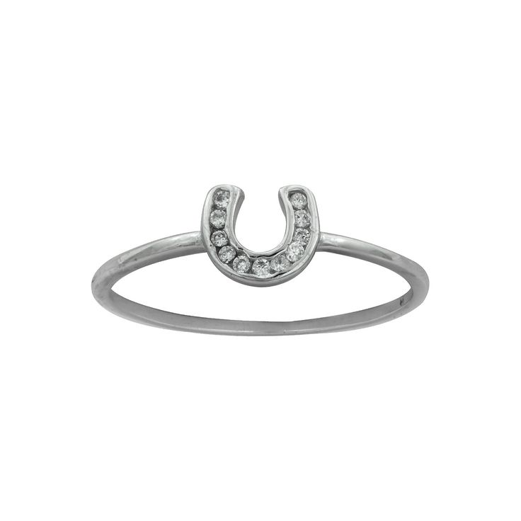 Women's's Silver Plated Cubic Zirconia Horseshoe Ring-White-Size (7), Silver Gray