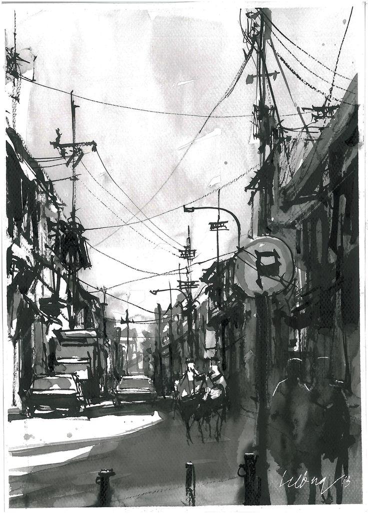 Jalan Panggung Surabaya Chinese Ink on paper