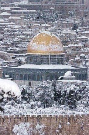 مسجد الصخرة في الشتاء مع الثلوج  Rock Mosque in winter with snow