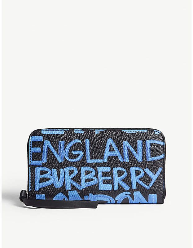 b56b440988 Burberry Elmore graffiti-print grained leather wallet
