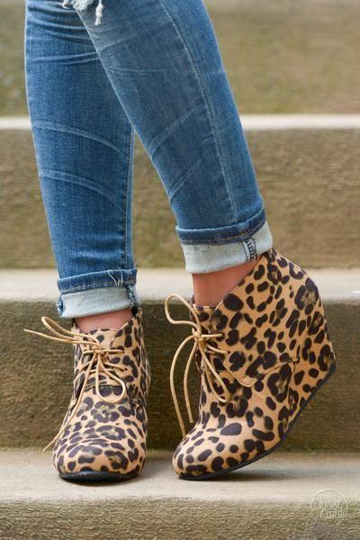 Wedge Booties - Leopard