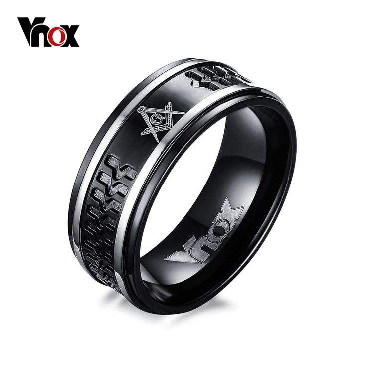 Punk Black Men's Masonic Rings 8mm Surgical Steel Male Ring Jewelry US Size 7 to 12
