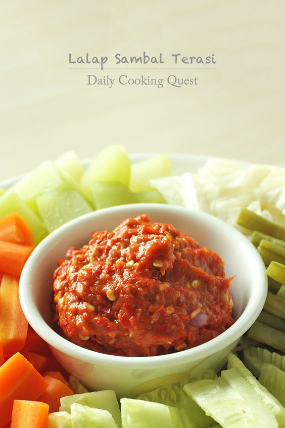 Lalap Sambal Terasi – Sundanese Vegetables with Shrimp Paste Chili Relish Recipe at http://dailycookingquest.com/by-cuisine/indonesian/lalap-sambal-terasi-sundanese-vegetables-with-shrimp-paste-chili-relish