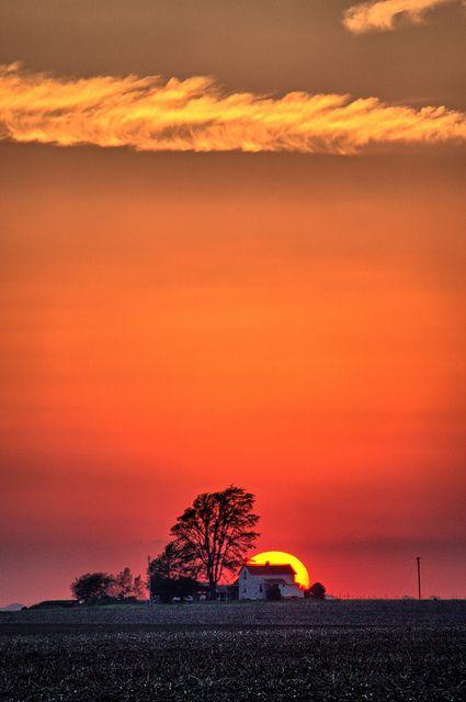 Sunset over Ogden Farm, Champaign, Illinois