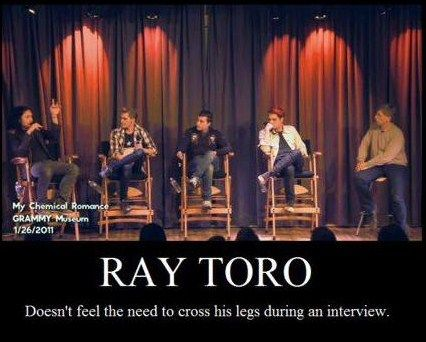 Ray Toro doesn't feel the need to cross his legs during an interview. Neither does the other guy on the end I guess.