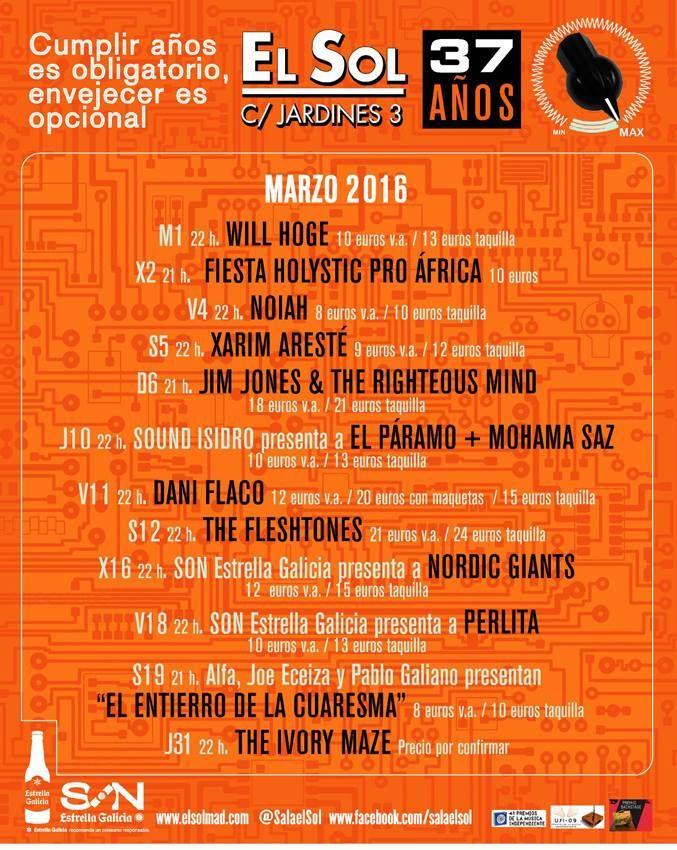 "Madrid & Music en Twitter: ""Programación de #Marzo en la mítica @SalaElSol. Entradas https://t.co/aEsr73U2Hu #MadridAndMusic https://t.co/mVszxtBJEr"""