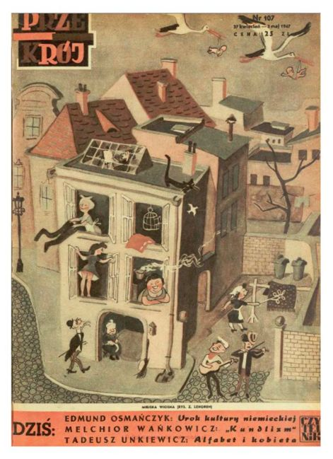 Cover of Przekrój magazine. Issue dated April 27,1947.