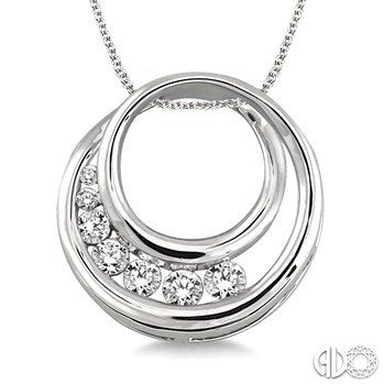 Need an Anniversary Gift? Try This Diamond Journey Circle Pendant in 14K White Gold with Chain