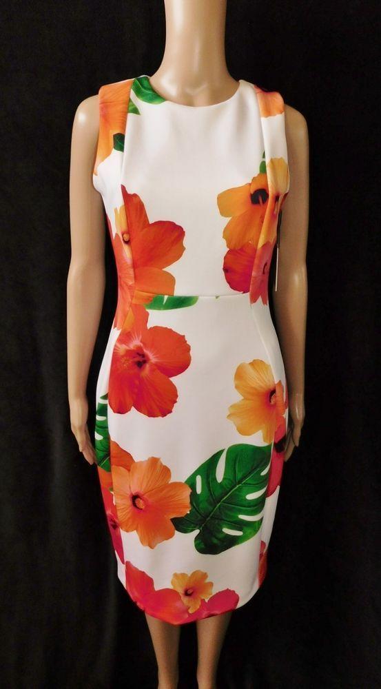 (❛‿❛✿)Women Calvin Klein Hibiscus Floral Orange Print Sheath Scuba Dress  SZ.4  CalvinKlein  SheathDress  Cocktail  45eb8fb43a