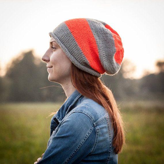 Neon Orange Grey Striped Slouchy Beanie Hat / Knit by RUKAMIshop