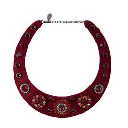 Collier col chemise strass rouge cl